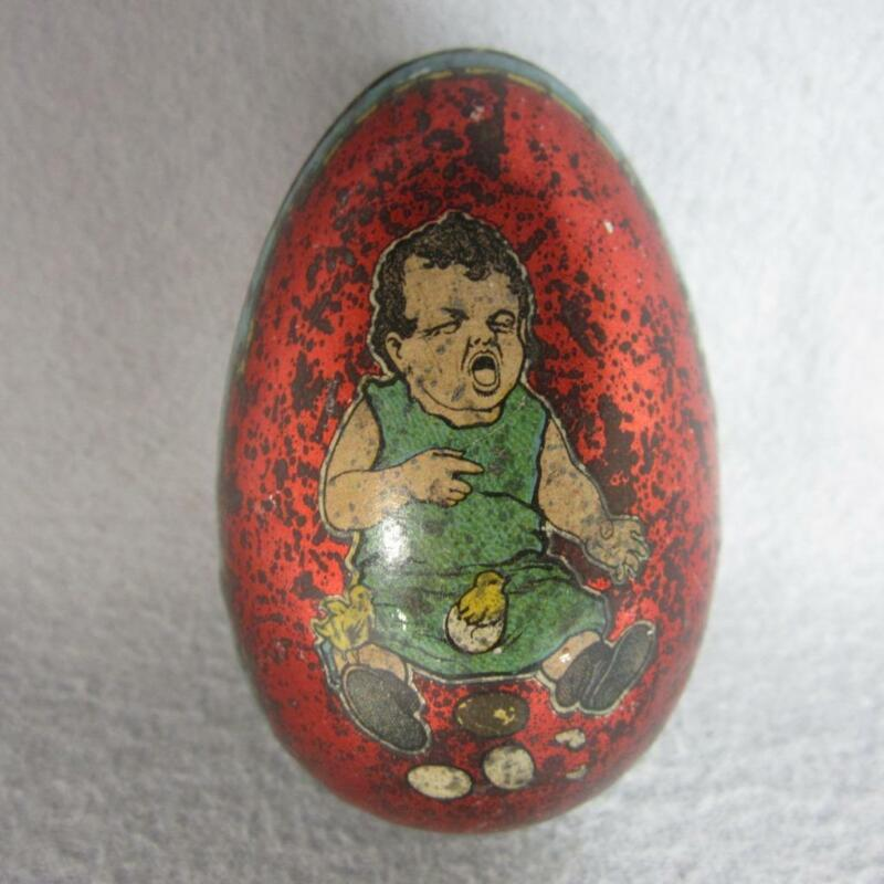 Vintage Tin Litho Egg Candy Container with Crying Child Baby and Chicks