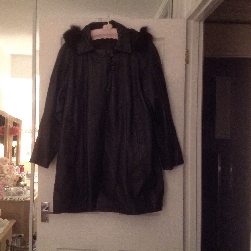 Ladies leather swing coat