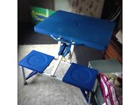 Bnib collapsible folding picnic table with seat benches