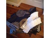 Bedeck Zen Black curtains and double duvet set