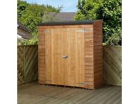 Wooden Tool Shed - Thin with pent roof, overlap cladding