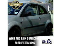 SNED Premium Quality Dark Smoked In Channel Wind Deflectors Ford Fiesta Mk6 All 3 Door Models