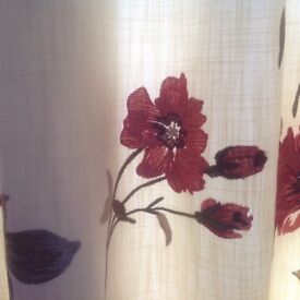 Lovely floral cream curtain for a door. 110 Wide Gathered X 210 long