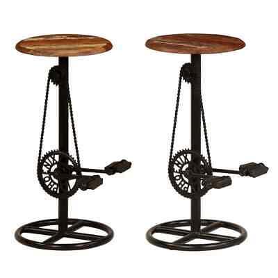 Gebruikt, vidaXL 2x Gerecycled Houten Barstoel Bar Stoel Barkruk Barkrukkenset Stoelen tweedehands  Nederland