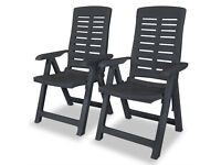 Reclining Garden Chairs 2 pcs Plastic Anthracite-43897