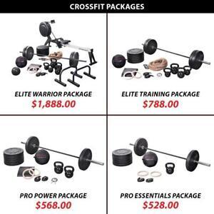 Rower Package Set Training Bundle Crossfit Weightlifting Powerlifting Weight Kettlebell Barbell Olympic Plate Rings
