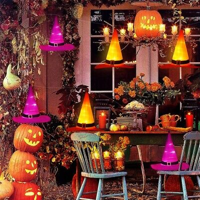 Halloween Decorations Witches Outdoor (6PC Halloween Decorations Witch Hats Caps String Lights Outdoor Lights Garden)
