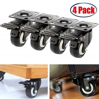4 Pack Heavy Duty Caster Set 2 Swivel Wheels Wbrake Top Plate Non Skid Castors
