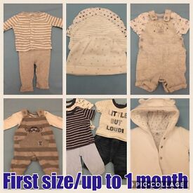 First size/up to 1 month baby boys clothes