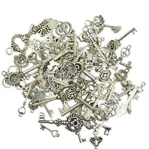 50 Vintage Tibetan Silver Mixed Key Charms Pendants Jewelry Making DIY Craft