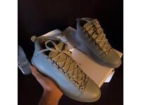Grey Balenciaga Arena High Top Non Creased Calfskin Leather Printed Men's Sneakers