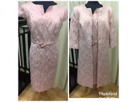 Pink dress and coat mother of the bride outfit size 14 by Ella Boo