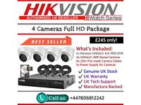 Hikvision HiWatch CCTV: 4CH Hikvision Turbo-HD PRO DVR, 4x HiWatch 2MP 1080P Dome Cameras