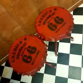 American Route 66 bottle top Stools