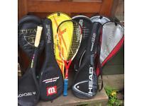 Assortment of Squash Rackets