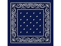 Job Lot Wholesale 115 x 100% Cotton Paisley Bandanas Available in Black, Navy, White, Red Colours