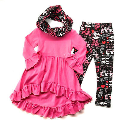 Valentine's Day Infant Baby Toddler Girl Love Scarf Boutique Outfit Kids