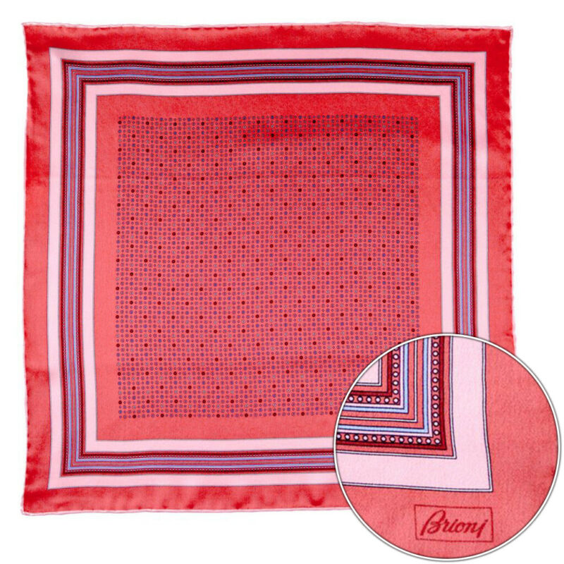 $150 New BRIONI Red Shapes Geometric Silk Hand Rolled Pocket Square Handkerchief