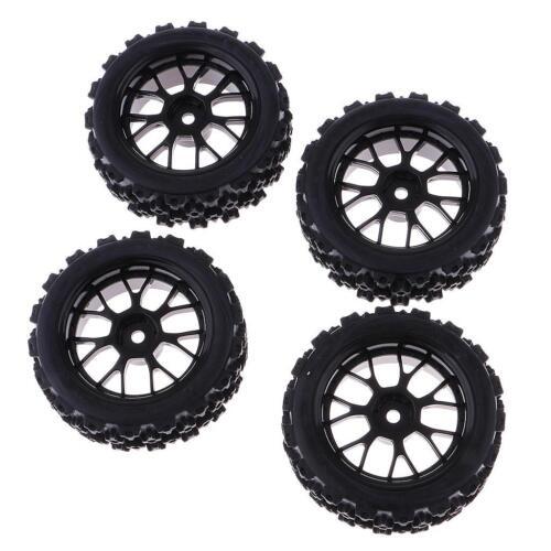 Car Parts - RC 1:10 Racing Car Tires Black Wheel Rim for HSP HPI Car Truck Parts 4 Pack