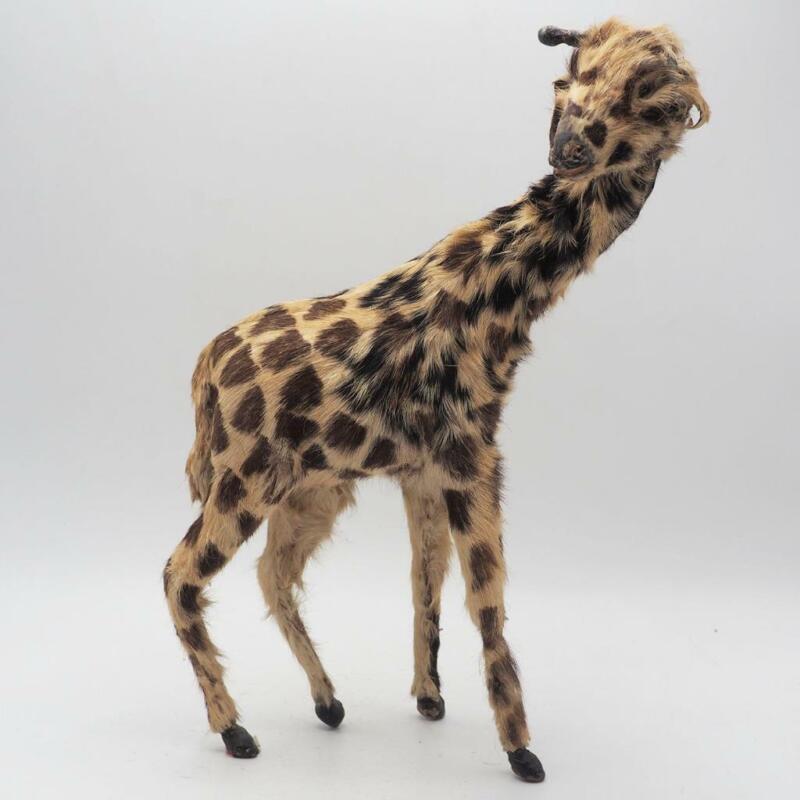Antique Giraffe Figurine Real Fur Covered Giraffe Figurine