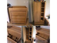 *open to offers* Oak two piece nursery furniture, wardrobe and changing table with drawers From Next