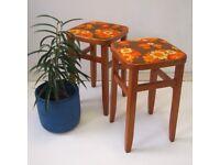 Vintage Retro Super 70s Orange Floral Print Stools x 2 £40 EACH