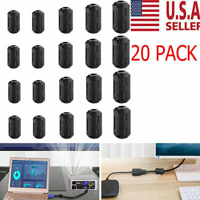 20 Cable Clips Clip-on Ferrite Ring Core RFI EMI Noise Suppressor Filter Beads
