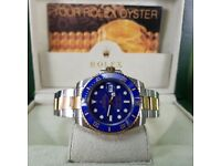 ROLEX SUBMARINER-TwoTone with blue face & ceramic bezel. Complete with Box, Bag & Paperwork. £140