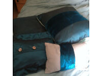 4 teal throw bed dress cushions by Kelly Hoppen