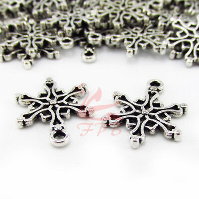 Snowflake Charms 19mm Antiqued Silver Plated Pendants SC0095180 - (10 Snowflake Charms)