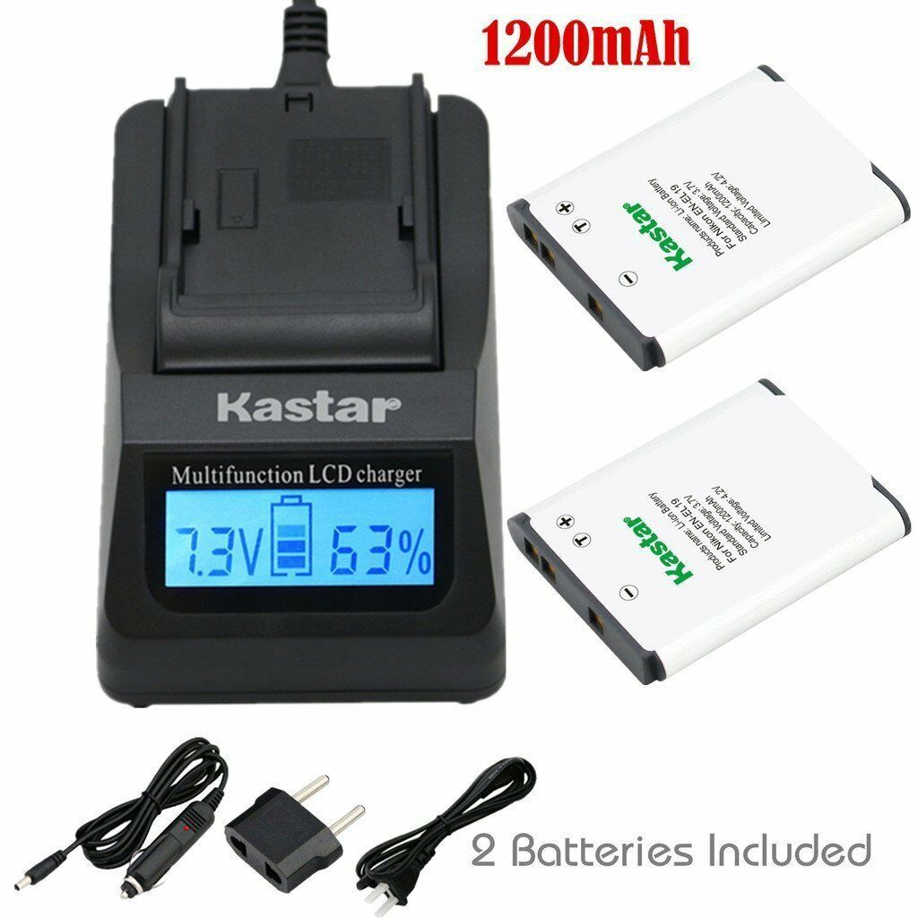 Kastar En-el19 Battery & Fast Charger For Nikon Coolpix S...