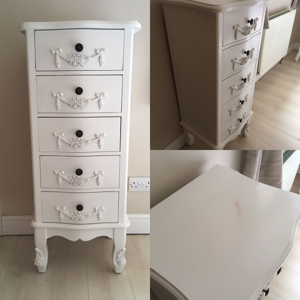 Toulouse Shabby Chic Bedroom Furniture Chest Of Drawers Bedside - Toulouse bedroom furniture white