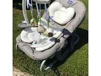 Baby Bouncer - Beige and White, three playful toys - CHICCO