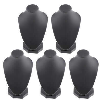 5 Lot Black Pu Leather Necklace Bust Display Shop Jewelry Stands Holder Rack