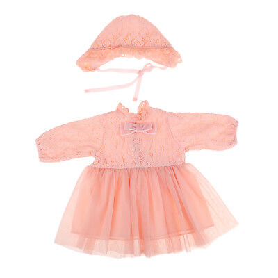 Prettyia 20-22inch Baby Dolls Clothes Reborn Girl Pink Lace Dress Hat Suit