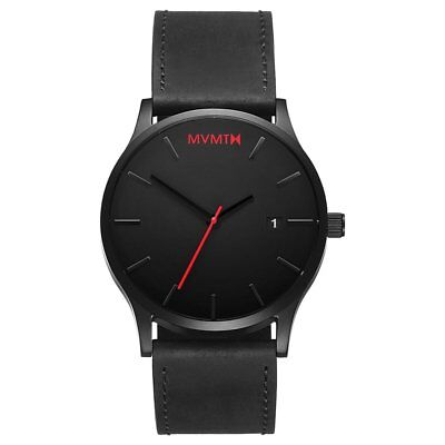 *NEW* MVMT Watches 45MM Black Red Face with Black Leather Strap Men's Watch 2019