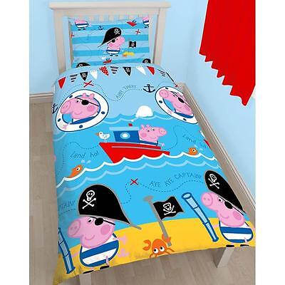 PEPPA PIG GEORGE PIRATE SINGLE DUVET QUILT COVER & PILLOWCASE SET KIDS BEDROOM