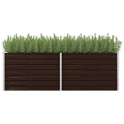 vidaXL Garden Planter Brown 240x80x77cm Galvanised Steel Planter Flower Box