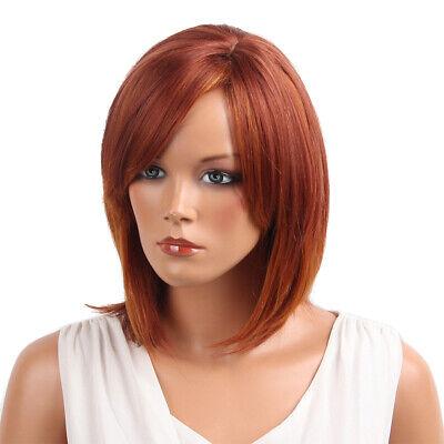 Frauen natürliche rote mittlere kurze gerade echte Echthaar Perücke