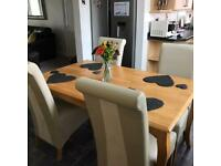 Oak Dining Room Table with 4 Chairs