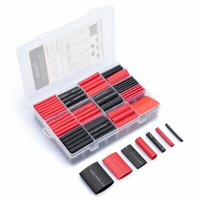 Wirefy 200 Pcs Black Red Larger Diameter Heat Shrink Tubing Kit - 31 W Adhesive