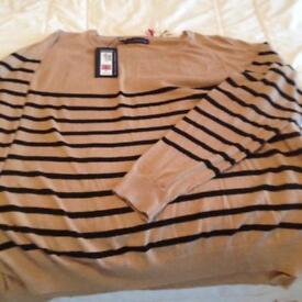 M & S ladies cotton blend striped XL jumper.