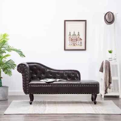 vidaXL Diván Elegante de Cuero Artificial Marrón Oscuro Chaise Lounge Sofá