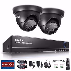 Sannce 1TB HDD 4CH DVR Video 2XDome Home CCTV Outdoor Security Cameras System