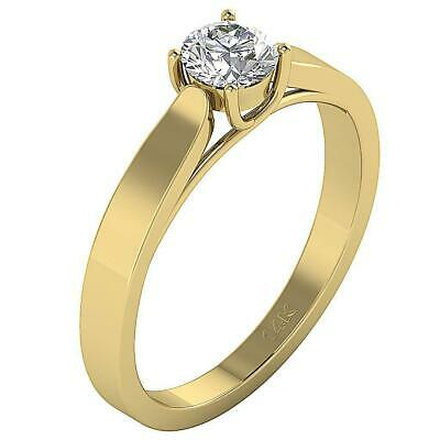 Solitaire Engagement Natural Diamond Ring 0.45 Ct SI1 G 14K Gold Four Prong Set