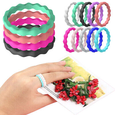 10PACK/SET Women Silicone Ring Rubber Wedding Band Set Stackable Twist Size 5-9