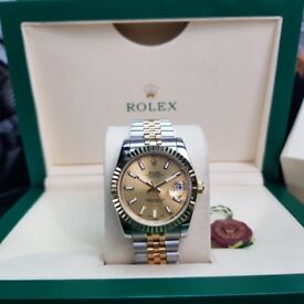 TwoTone Rolex DateJust with Gold Face and Markers Comes Rolex Boxed with Paperwork