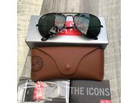 Genuine Brand New Rayban Aviator Black/Green 3025 Sunglasses 58mm