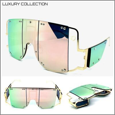 Oversized Exaggerated Retro Shield SUN GLASSES Gold Frame Iridescent Pink (Pink Lens Glasses)