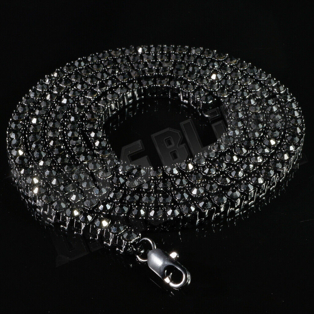 14k Black Gold ICED Bling Out Lab Diamond 1 Row BLACK Chain